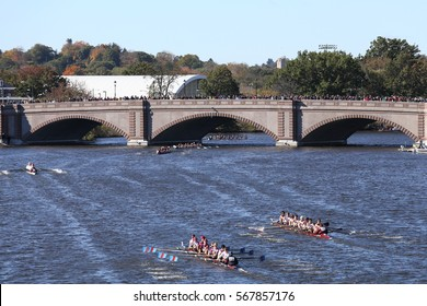 BOSTON - OCTOBER 23, 2016: Boston College HS (Bottom) and Fordham (top) race for the bridge in the Head of Charles Regatta Men's Youth Eights [PUBLIC RACE]
