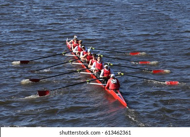BOSTON - OCTOBER 23, 2016: CRI rowing Crew races in the Head of Charles Regatta Men's Youth Eights [PUBLIC RACE]