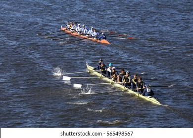 BOSTON - OCTOBER 23, 2016: Dallas United (bottom) OKC Riversport (top) races in the Head of Charles Regatta Men's Youth Eights [PUBLIC RACE]
