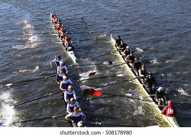 BOSTON - OCTOBER 23, 2016: Holy Cross (left) Boston College (middle)  get tangled up in a crash in the Head of Charles Regatta Men's Collegiate Eights [PUBLIC RACE] Wesleyan (right)