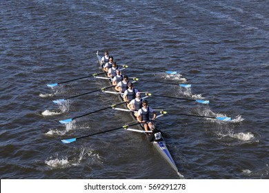 BOSTON - OCTOBER 23, 2016: Montclair  Crew races in the Head of Charles Regatta Men's Youth Eights [PUBLIC RACE]