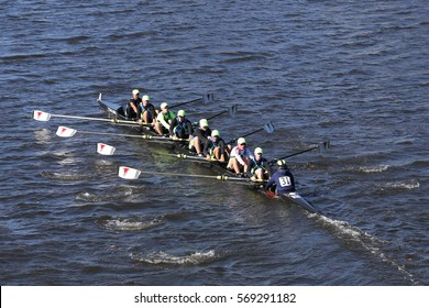 BOSTON - OCTOBER 23, 2016: Resilient Rowing Club Crew races in the Head of Charles Regatta Men's Youth Eights [PUBLIC RACE]