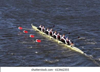 BOSTON - OCTOBER 23, 2016: RV Kreuzgasse Crew races in the Head of Charles Regatta Men's Youth Eights [PUBLIC RACE]