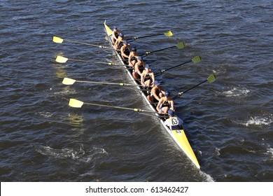 BOSTON - OCTOBER 23, 2016: Saline High School Crew races in the Head of Charles Regatta Men's Youth Eights [PUBLIC RACE]
