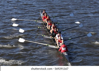 BOSTON - OCTOBER 23, 2016: Sammamish Rowing Association Crew races in the Head of Charles Regatta Men's Youth Eights [PUBLIC RACE]