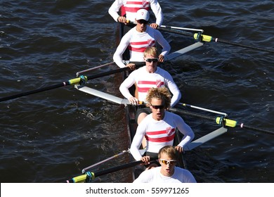 BOSTON - OCTOBER 23, 2016: San Diego races in the Head of Charles Regatta Men's Youth Eights [PUBLIC RACE]