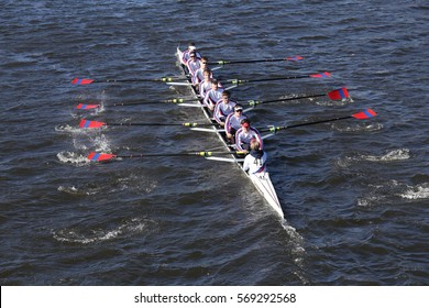 BOSTON - OCTOBER 23, 2016: St. Catherine's Crew races in the Head of Charles Regatta Men's Youth Eights [PUBLIC RACE]