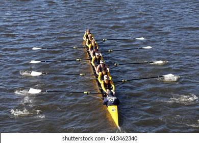 BOSTON - OCTOBER 23, 2016: St. Ignatius Crew races in the Head of Charles Regatta Men's Youth Eights [PUBLIC RACE]