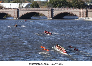 BOSTON - OCTOBER 23, 2016: Wayland-Weston (bottom) The Haverford School (top)races in the Head of Charles Regatta Men's Youth Eights [PUBLIC RACE]