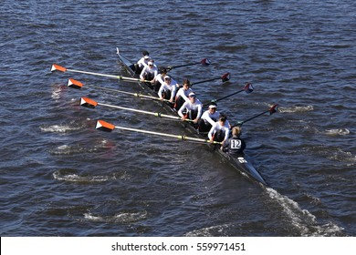 BOSTON - OCTOBER 23, 2016: Winter Park Crew races in the Head of Charles Regatta Men's Youth Eights [PUBLIC RACE]