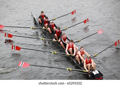 BOSTON - OCTOBER 24:  Community rowing Men 18 and Under men's Crew competes in the Head of the Charles Regatta on October 24, 2010 in Boston, Massachusetts.