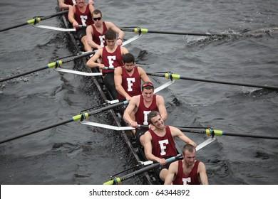 BOSTON - OCTOBER 24: Fordham University men's Crew competes in the Head of the Charles Regatta on October 24, 2010 in Boston, Massachusetts.