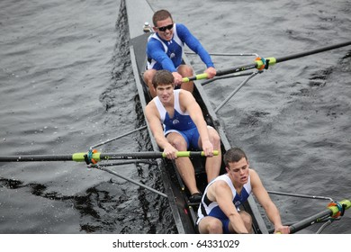 BOSTON - OCTOBER 24:  Grand Valley State University  men's Crew competes in the Head of the Charles Regatta on October 24, 2010 in Boston, Massachusetts.