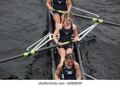 BOSTON - OCTOBER 24: Middlebury University Women's Crew compete in the Head of the Charles Regatta  on October 24, 2010 in Boston, Massachusetts.