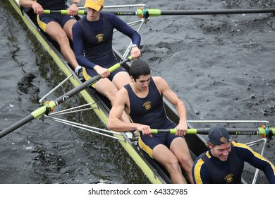 BOSTON - OCTOBER 24: Trinity College men's Crew competes in the Head of the Charles Regatta on October 24, 2010 in Boston, Massachusetts.