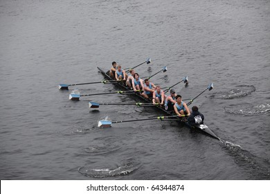 BOSTON - OCTOBER 24: Tufts University men's Crew competes in the Head of the Charles Regatta on October 24, 2010 in Boston, Massachusetts.