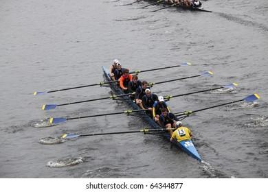 BOSTON - OCTOBER 24: University of Delaware men's Crew competes in the Head of the Charles Regatta on October 24, 2010 in Boston, Massachusetts.