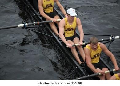 BOSTON - OCTOBER 24: University of Minnesota men's Crew competes in the Head of the Charles Regatta on October 24, 2010 in Boston, Massachusetts.
