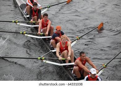 BOSTON - OCTOBER 24: University of Virginia Rowing Association men's Crew competes in the Head of the Charles Regatta on October 24, 2010 in Boston, Massachusetts.