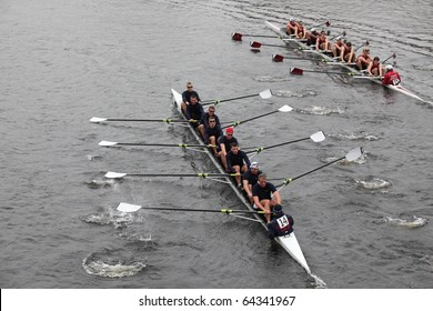 BOSTON - OCTOBER 24: US Coast Guard Academy men's Crew competes in the Head of the Charles Regatta on October 24, 2010 in Boston, Massachusetts.