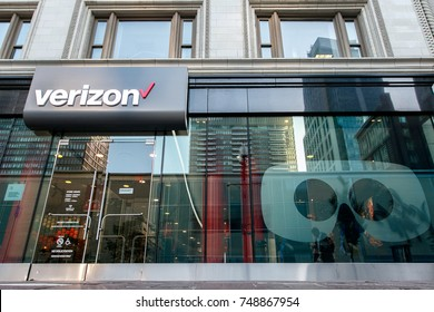 Boston, October 28, 2017: The front windows of a Verizon store.