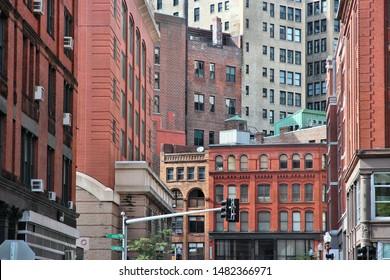 Boston old architecture street view. Massachusetts, United States of America.