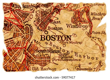 Boston on an old torn map, isolated. Part of the old map series.