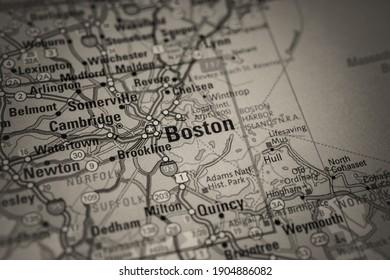 Boston on Usa travel map