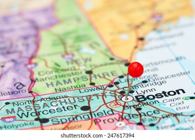 Boston pinned on a map of USA