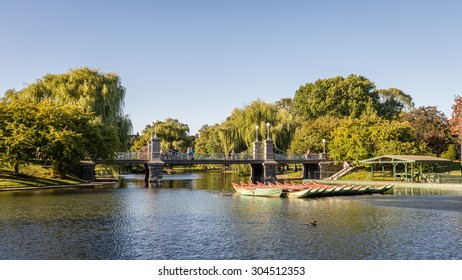 Boston Public Garden. The lagoon and grounds of the Boston Public Garden, Boston, Massachusetts. Photograph shot on September 2014.