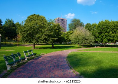 Boston Public Garden in Massachusetts - USA.
