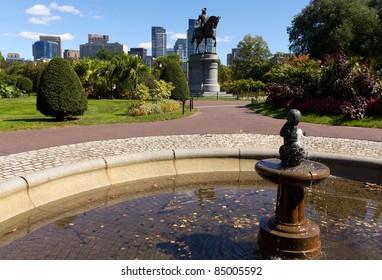 The Boston Public Garden in Massachusetts, USA.