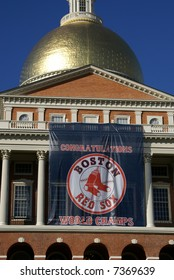 Boston Red Sox banner proudly displayed on the front of the Massachusetts State House. October 30, 2007.