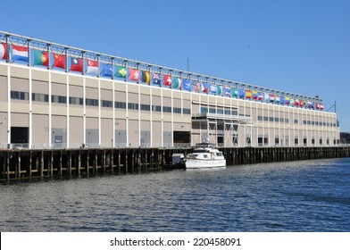 BOSTON - SEP 14: Seaport World Trade Center in Boston, as seen on Sep 14, 2014. The building is located on the Boston waterfront at Commonwealth Pier, in the South Boston neighborhood