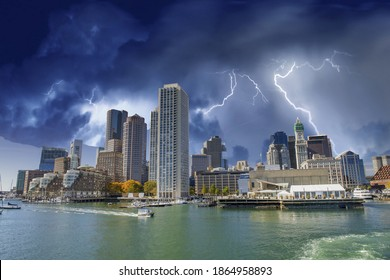 Boston Skyline and boats under a coming storm, Massachusetts.
