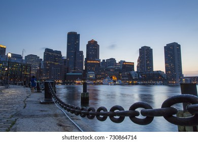 Boston, Skyline of Boston's Financial District at sunset