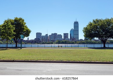 the Boston skyline and Charles River from Cambridge, Massachusetts