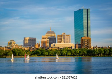 The Boston skyline and Charles River, seen from Cambridge, Massachusetts.