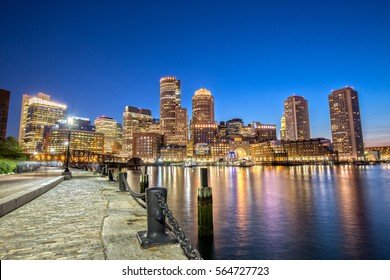 Boston Skyline from Downtown Harborwalk at Night