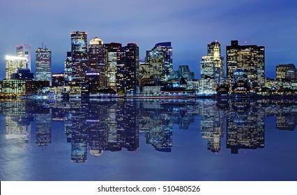 Boston skyline at dusk.