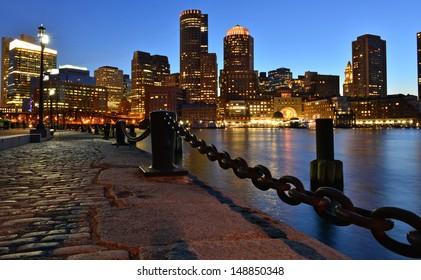 Boston skyline at dusk, Boston, MA, USA
