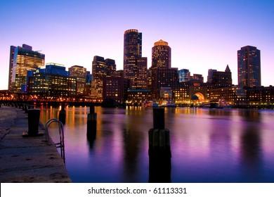 Boston Skyline at Dusk in Massachusetts - USA.