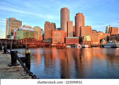 Boston Skyline with Financial District and Boston Harbor at Sunrise