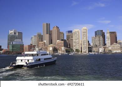 Boston skyline and harbor, USA