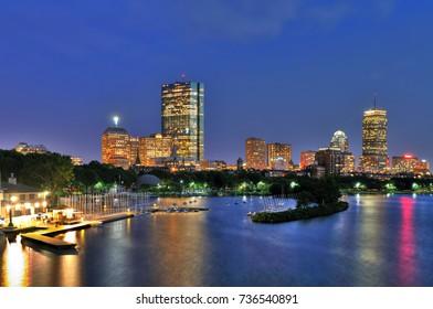 Boston Skyline At Night. Beautiful Back Bay architecture along Charles River