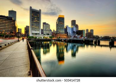 Boston skyline at night, financial district