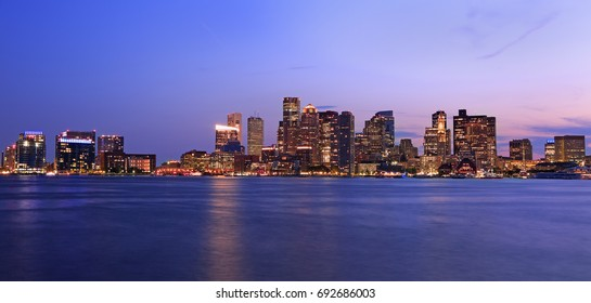 Boston skyline at night, USA