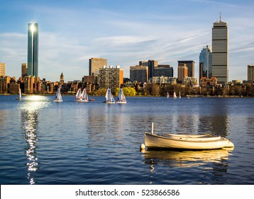 The Boston skyline one a beautiful summer day.