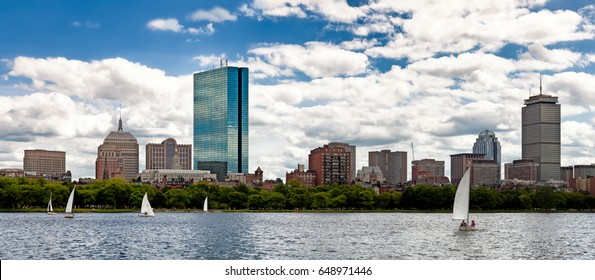 Boston skyline panorama viewed from the Charles River