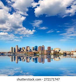 Boston skyline with river in sunlight at Massachusetts USA
